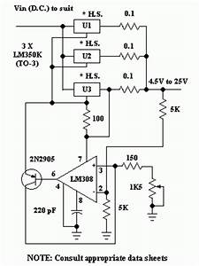 lm350 high current power supply 45 25v 10a circuit With variable 4 a 25v power supply