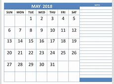 Calendar May 2018 With Notes Free HD Images