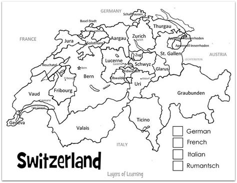 switzerland printable map  country study map