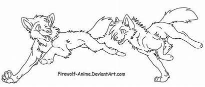 Wolf Lineart Anime Firewolf Deviantart Run Couple