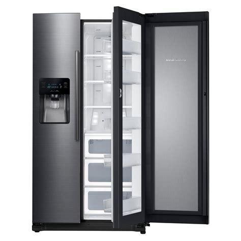 samsung side by side samsung 24 7 cu ft side by side refrigerator in fingerprint resistant black stainless