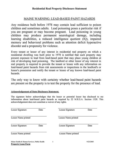 maine residential rental property lead disclosure statement