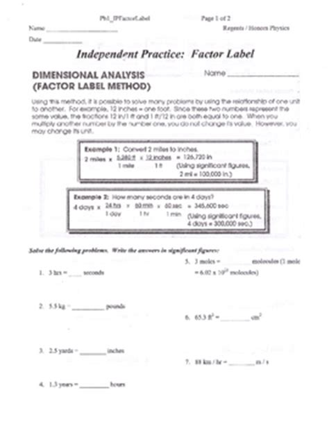 dimensional analysis or factor label method packet by lesson universe