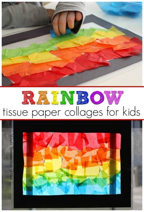 rainbow craft tissue paper suncatcher collages 605 | rainbow tissue paper collages toddler art