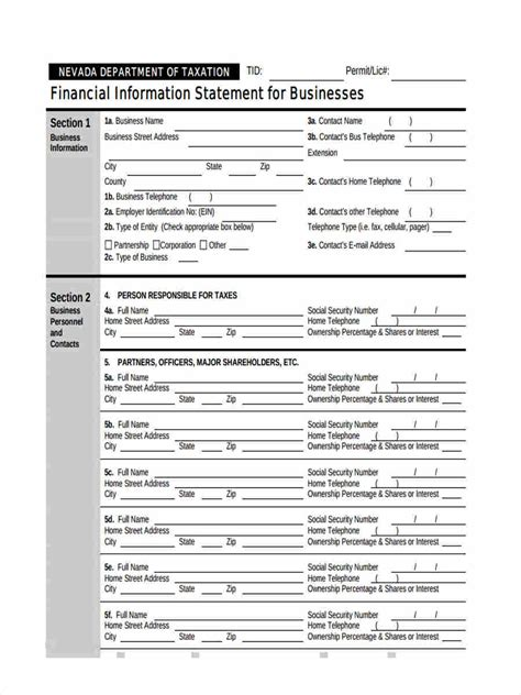 financial statement form