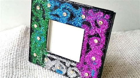 create  glitter decorated photo frame diy home
