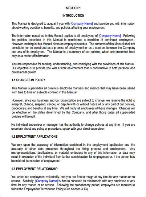 employee manual template 14 sle employee handbook manual templates free premium templates