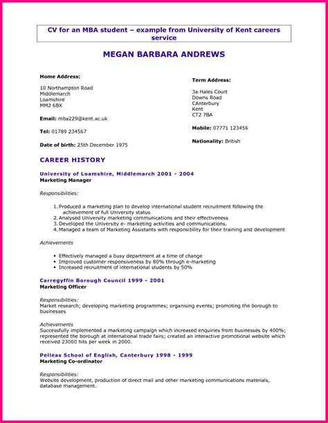 Exle Of Curriculum Vitae For College Students by 7 Student Cv Format