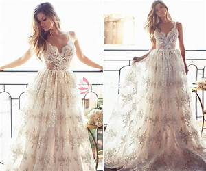 champagne gold spaghetti strap v neck a line full lace With lace champagne wedding dress