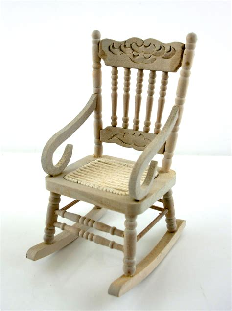 dollhouse miniature furniture unfinished oak rocking chair