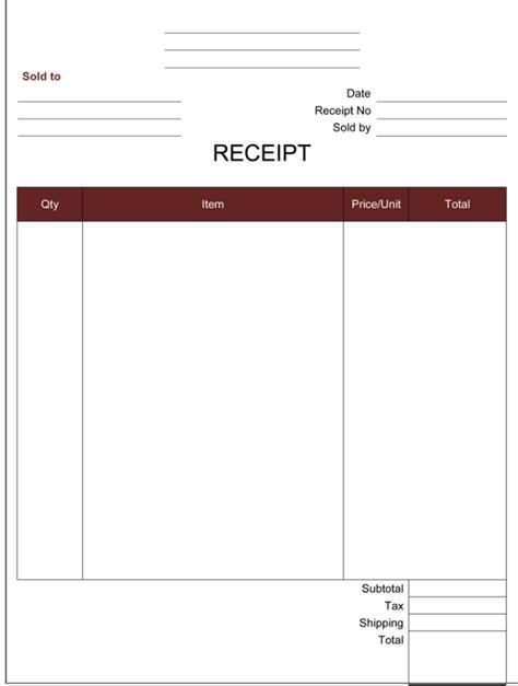 receipt template 5 printable receipt formats