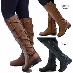 womens boots knee womens gc1 cognac brown black buckle knee high cowboy boots ebay