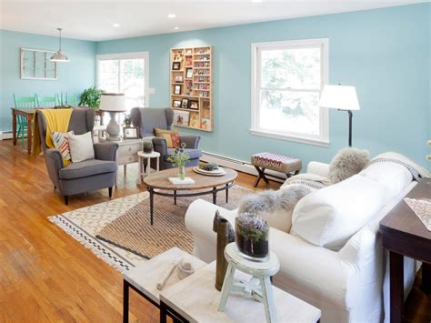sky blue cottage style living room hgtv