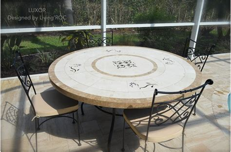 mosaic outdoor dining table 170cm round outdoor garden marble mosaic dining table luxor