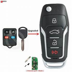 Keyecu New Upgraded Replacement Flip Remote Key 315MHz 4D63 80 BIT Chip for Ford Mustang Edge ...