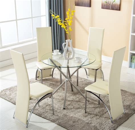 4 Chairs 5 Piece Round Glass Dining Table Set Kitchen Room