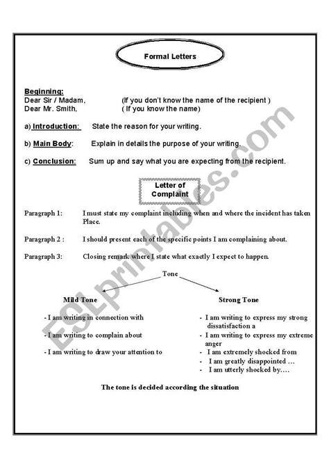 English worksheets: Formal Letter- Letter of Complaint