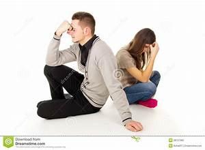 Boy And Girl Sit Sad Stock Photos - Image: 28157383