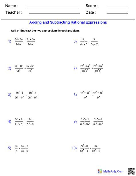 adding and subtracting rational expressions worksheets math aids algebra algebra 1