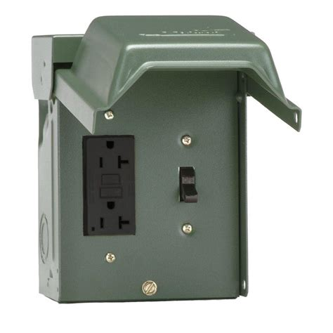 outdoor plug in l post ge 20 amp backyard outlet with switch and gfi receptacle