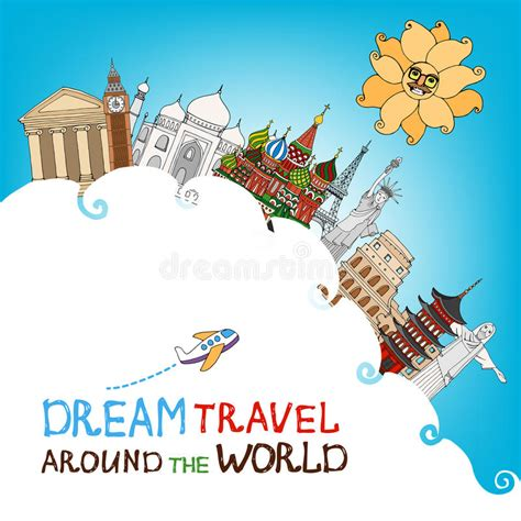 Dream Travel Around The World Stock Vector Illustration
