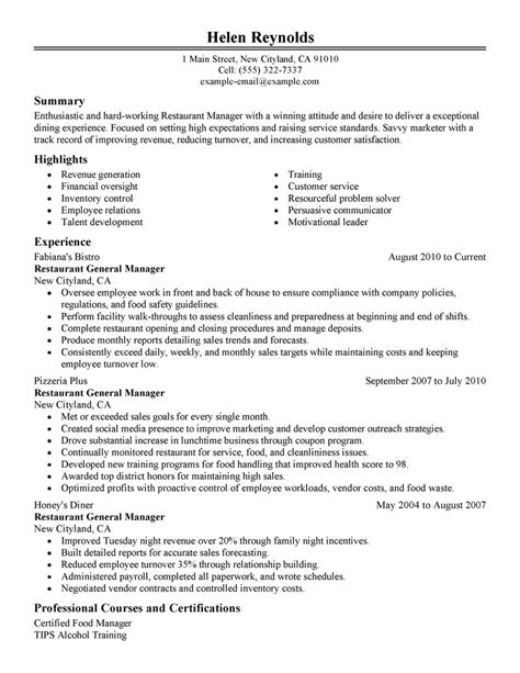 example of restaurant resume best restaurant manager resume example livecareer