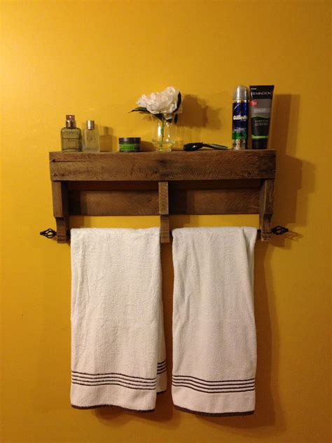 items similar to the original rustic pallet towel rack shelf bathroom wall hanging on etsy