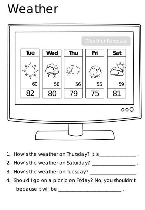 weather worksheets for kindergarten pdf them