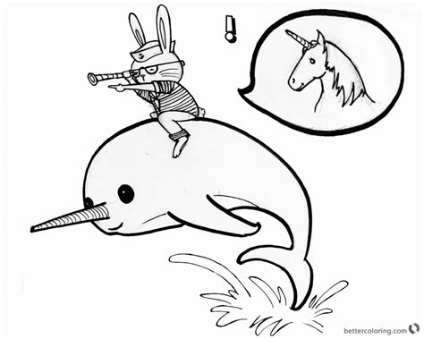 narwhal coloring pages cat ride   narwhal