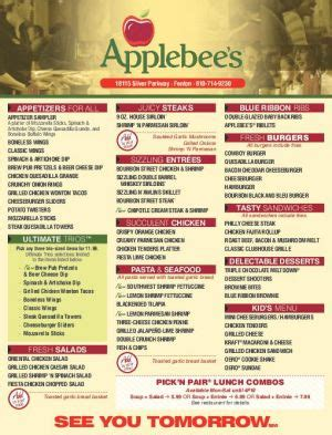 applebee s light menu applebee s neighborhood grill and bar fenton mi
