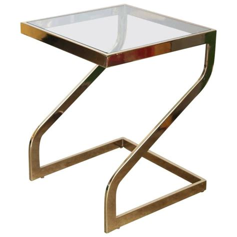 zig zag end table zig zag lacquered brass and glass petite square top side