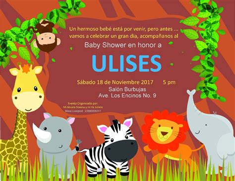 invitacion baby shower animales selva 150 00 en