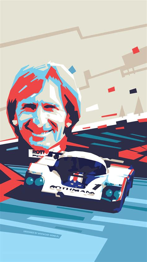 Derek Bell with Le Mans Porsche 956 poster, vertical – Car ...