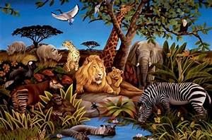 Jungle Animals Wall Murals - Huge Realistic Jungle Theme