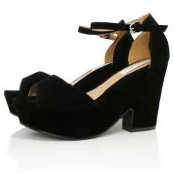 Black Suede Wedge Heels Sandals