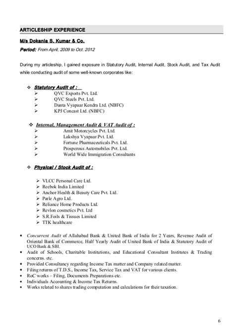 ca ipcc articleship resume format 28 images 10000 cv