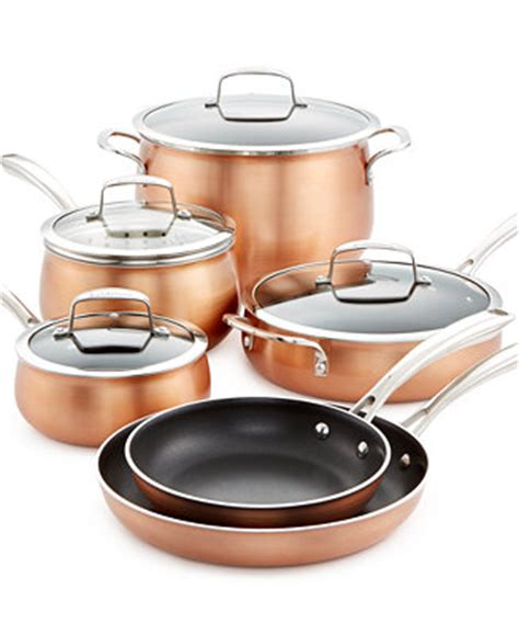 belgique copper translucent  piece cookware set   macys cookware sets macys