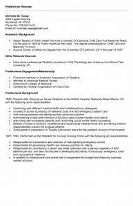 Pediatrician Resume Example For Job Application
