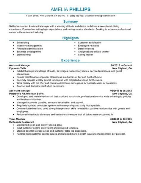 assistant manager resume exle restaurant bar sle