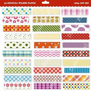 Printable Washi Tape Clip Art Set Digital Clipart By