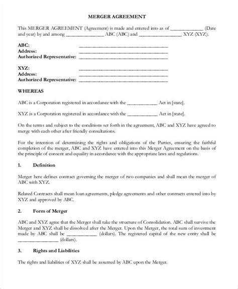 merger agreement templates  sample
