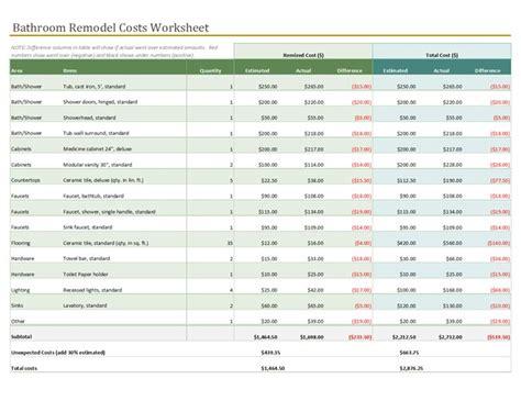 Bathroom Renovation Material List by Bathroom Remodel Cost Calculator