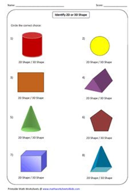 faces edges  vertices worksheet answers shapes