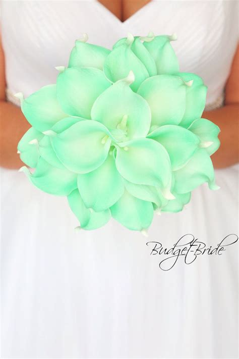 mint real touch calla lily wedding bouquet brides flowers
