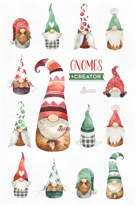 gnomes creator watercolor holiday clipart nordic