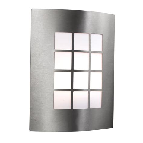searchlight lighting single light stainless steel outdoor wall fitting with square opal