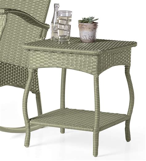Outdoor Or Indoor Wicker Side Table With Steel Frame