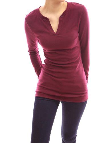 pattyboutik v neck sleeve stretch pullover fitted casual tunic blouse knit top burgundy 14