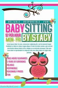 postermywall babysitting flyers With babysitting poster template