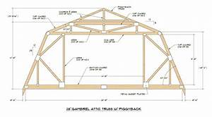 Gambrel roof with attic for 40 foot trusses